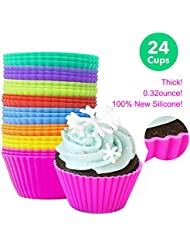 Reusable Silicone Baking Cups, Mini Muffin Cupcake Liners,100% Food Grade Silicone Muffin Cups,Pack of 24,Thick and Durable,8 Colors.