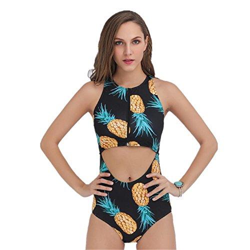 SHISHANG Señora bikini señoras traje de baño Europa y los Estados Unidos nueva impresión bikini traje de baño de alta elasticidad black pineapple