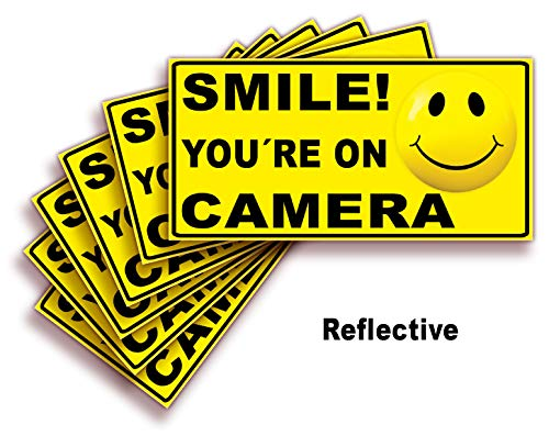 Smile You're On Camera Signs Stickers - 6 Pack Reflective Silver 4x2 Inch - Premium Self-Adhesive Vinyl, Decal, Laminated for Ultimate UV, Weather, Scratch, Water and Fade Resistance, Indoor & Outdoor