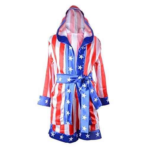 Halloween Costumes for Boys,American Flag Rocky Boxing Robe Hooded Shorts Kids Italian Stallion Suits Cosplay Costumes (American Flag,L)