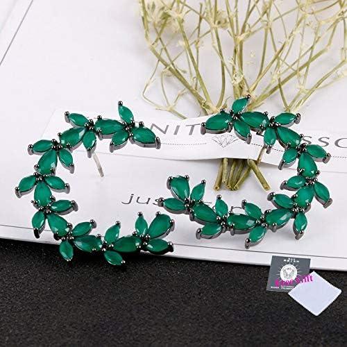 Pendientes redondos de cristal verde de moda con Aaa Cubic Zirconia Pendientes de color amarillo Joyería de moda
