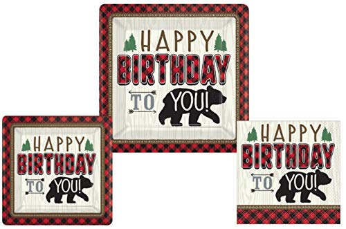 Buffalo Plaid Woodland Bear Birthday Party Supplies - Bundle Includes Plates and Napkins for 8 Guests in a Buffalo Plaid Little Lumberjack Theme ()