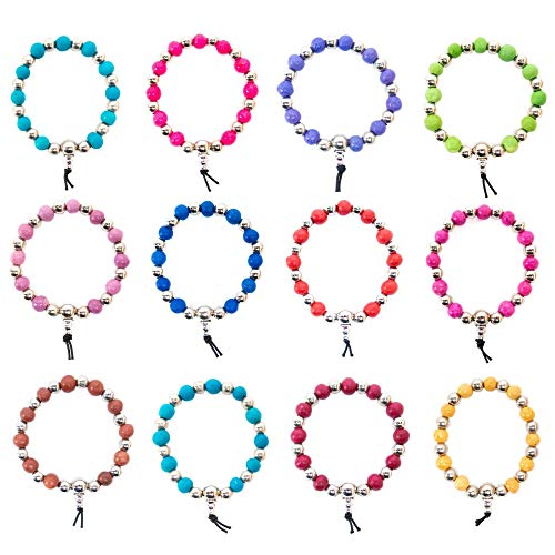 Harmony 12 PCS Scented Beads Bracelets - Great as Aromatherapy Diffuser Bracelet Pack for Women and Men | Add Essential Oil When The Scent Wears Off - Great Fashion Jewelry Gift