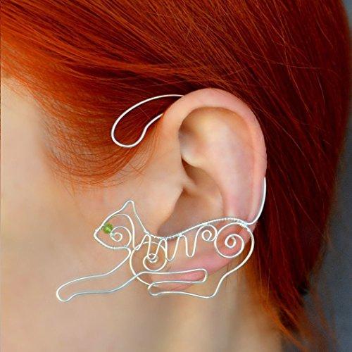 Wire Cat Earrings Jewelry Popular Ear Cuffs Wearable Art Jewelry Gifts For Girl Fake Piercing Animal Earrings Cat Jewelry Elegant Ear Cuff