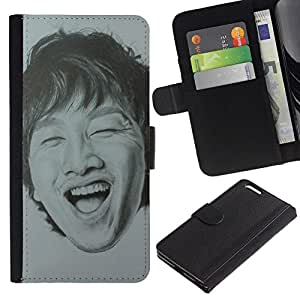All Phone Most Case / Oferta Especial Cáscara Funda de cuero Monedero Cubierta de proteccion Caso / Wallet Case for Apple Iphone 6 PLUS 5.5 // Portrait Man Laughing Teeth