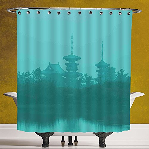 SCOCICI Waterproof Shower Curtain 3.0 by [Asian,Various Temples above the Sea Holy Tank in Fog Symbolic Faith Custom Pagoda Monochrome Decorative,Turquoise ] Bathroom Accessories with Hooks by SCOCICI