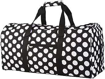 World Traveler Black and White Big Polka Dots Gym Duffle Bag 21-inch