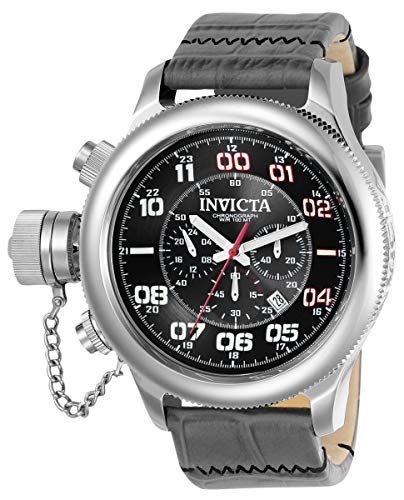 Invicta Men's Russian Diver 22287 Silver Leather Japanese Chronograph Diving Watch