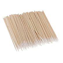 MagiDeal 100Pcs Tattoo Cotton Swabs Sticks Q-tips Long Wooden Handle Cosmetic Makeup Tool