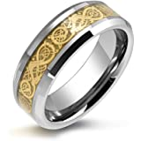 Bling Jewelry Tungsten Celtic Dragon Gold Plated Inlay Unisex Wedding Band