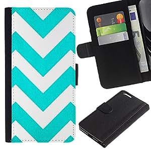 All Phone Most Case / Oferta Especial Cáscara Funda de cuero Monedero Cubierta de proteccion Caso / Wallet Case for Apple Iphone 6 PLUS 5.5 // Teal White Stripes Pattern
