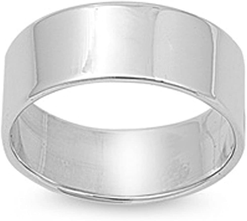 2mm to 10mm XP Jewelry Solid Sterling Silver Plain Round Wedding Band Ring