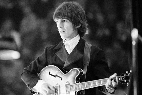 George Harrison 1960s The Beatles On Stage Playing Guitar Iconic 24x36 Poster