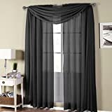Luxury Abri Rod Pocket Crushed Sheer Curtain Panel ( Single ) – Black , 50X108″