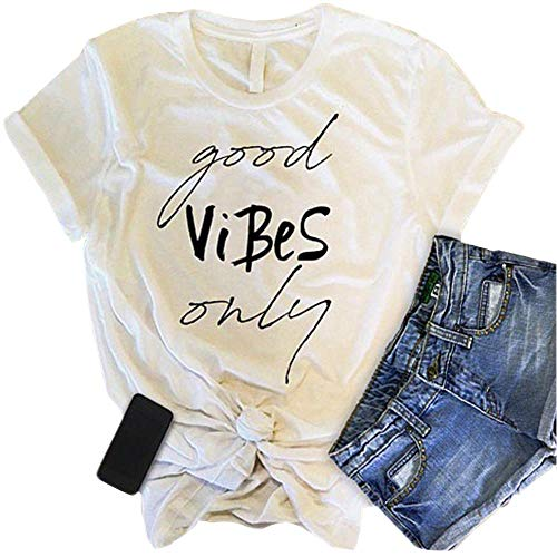 T Shirts for Women Graphic Funny Saying Good Vibes Only Summer Short Sleeve Tees T-Shirts ()