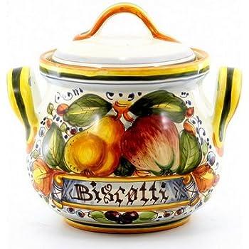 Amazon Com Italian Ceramic 9 Inch Biscotti Cookie Jar Handmade In Tuscany Italian