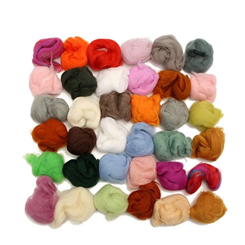 36 Colors Wool Fibre Roving Sewing For Needle Felting Hand Dyed Spinning DIY Fun Doll Needlework Raw Wool (Hand Dyed Roving)