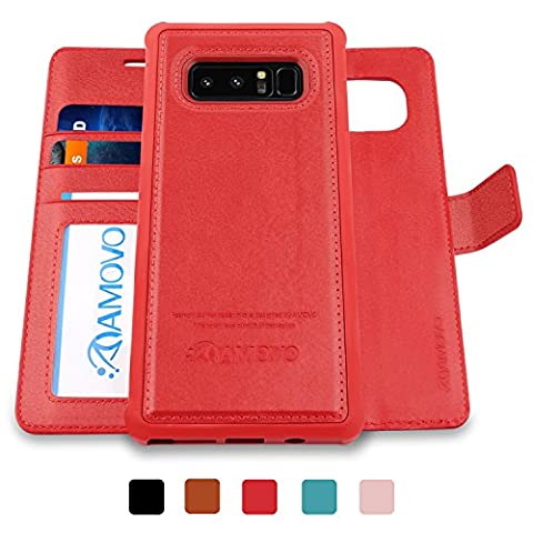 AMOVO Galaxy Note 8 Case [2 in 1], Samsung Galaxy Note 8 Wallet Case [Detachable Wallet Folio] [Premium Vegan Leather] Samsung Note 8 Flip Cover with Gift Box Package (Galaxy Note 8 Bundle)