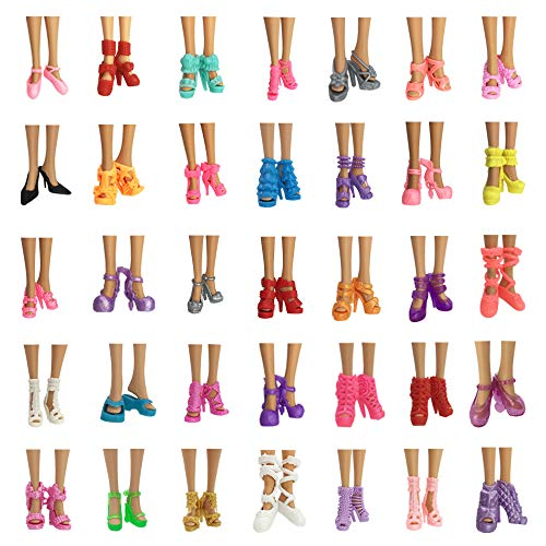 Nounita 10 Pairs Doll Shoes Accessories Compatible with 11.5 inch Doll Fashion High Heels Sandals Boots Shoes Pack ()