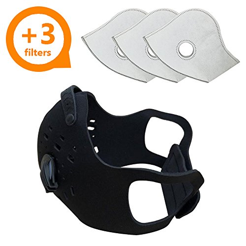 Activated Carbon Dust Mask for Breathing Clean Air, with Extra Filters, Excellent for Cycling, Running, No More Exhaust Gas, Dustproof, Anti Allergy and Pollution, PM2.5 N99, Outdoor Activities ()
