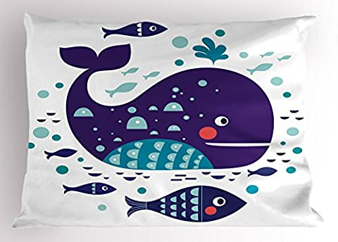 Whale Decor Pillow Sham by Ambesonne, Navy Sea Theme Cartoon Big Fish with Others in Ocean Swimming Image, Decorative Standard Size Printed Pillowcase, 26 X 20 Inches, Sky Blue and Navy (Blue Theme Room)