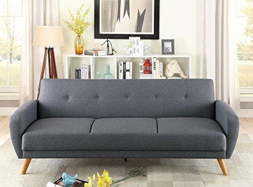 Poundex Colombina Blue/Grey Polyfiber Adjustable Sofa Bed