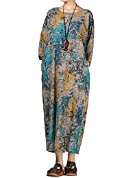 Mordenmiss Women's 3/4 Sleeve Retro Printing Dress with Pockets