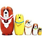 5pcs Cute Dog Nesting Dolls Handmade Wooden Russian Matryoshka Wishing Dolls Birthday for Kids Decoration