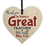 hanging-SIGN Thank You Teacher Gift Wooden Heart Leaving Goodbye Miss You Teaching Assistant Nursery School Present