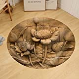 Gzhihine Custom round floor mat a Stone Inscription of a Flower Thai Style of Buddhism
