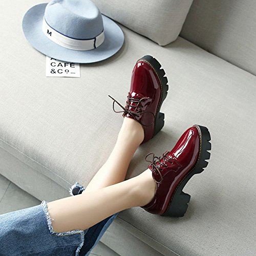 Chunky Shine Lacing Red Show Heel Oxfords Women's Platform Wine Shoes Up wq1ZOF