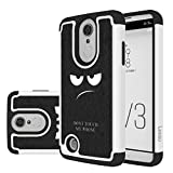 LEEGU LG K8 2017 Case, [Shock Absorption] Dual Layer Heavy Duty Protective Silicone Plastic Cover rugged Armor Case for LG K8 2017 - Don't Touch My Phone