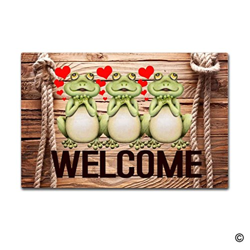 - MsMr Door Mat Entrance Mat Welcome Frog Love Non-slip Doormat 23.6 by 15.7 Inch Machine Washable Non-woven Fabric