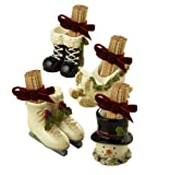 Grasslands Road Deck the Halls Sleigh/Ice Skate/Snowman/Black Boot Toothpick Holders with Ribbon Party Favors, Set of 24