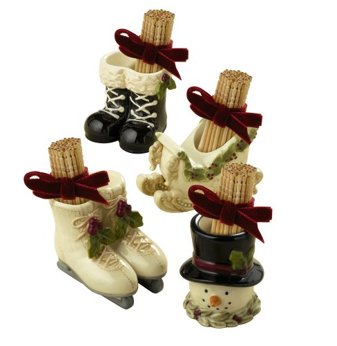 Grasslands Road Deck the Halls Sleigh/Ice Skate/Snowman/Black Boot Toothpick Holders with Ribbon Party Favors, Set of 24 by Grasslands Road
