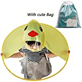 vestitiy Kid Boys Girls Duck Raincoat Children Umbrella Cartoon Cloak Hooded Raincoat with Cute Bag