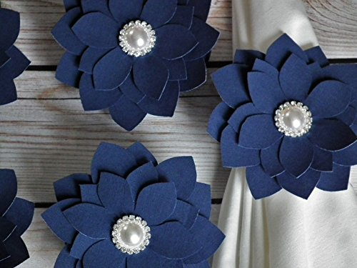 Set of 5 navy fabric flower napkin rings, white faux pearl and rhinestones center