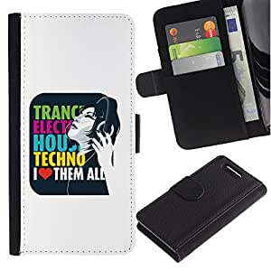 KingStore / Leather Etui en cuir / Sony Xperia Z1 Compact D5503 / Trance Techno Música Electro House cita del amor