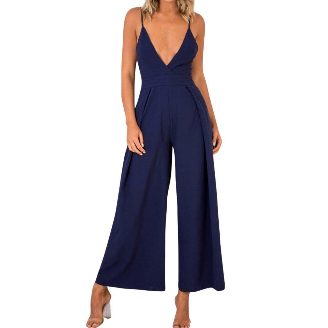 Sumen Women's Wide Leg Palazzo Pants V Neck Backless Sleeveless Jumpsuit Rompers