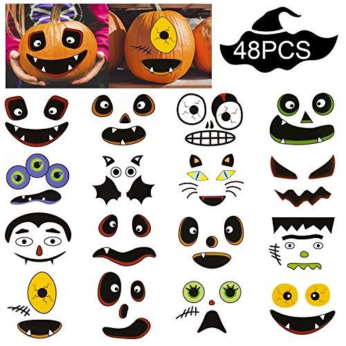 Cute Halloween Pumpkin Designs (SAVITA Halloween Pumpkin Decorating Stickers Cute Pumpkin Stickers with Assorted Fun Design for Halloween Party Favors (12 Sheets, 48 PCS Face Stickers)