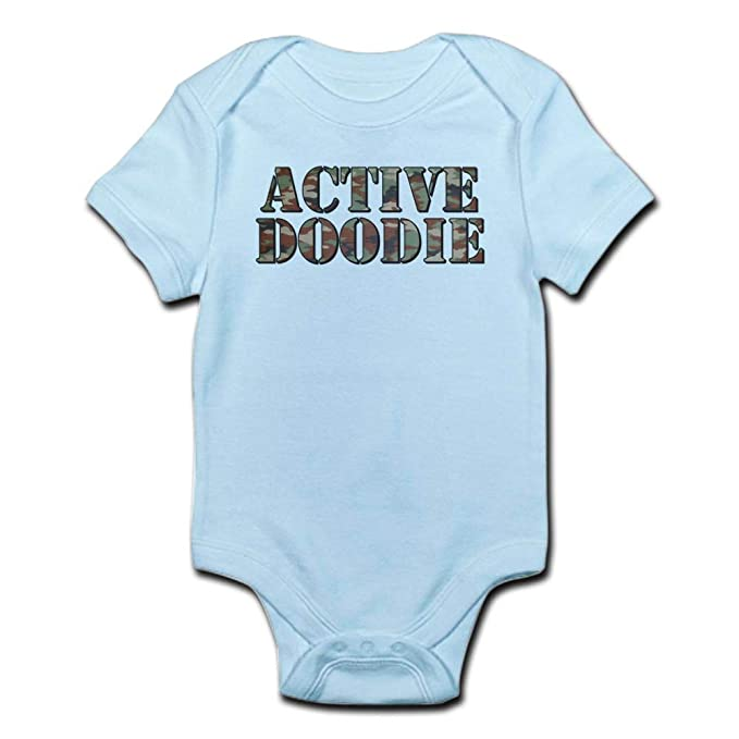 2a915a86a7b5 CafePress ACTIVE DOODIE ACTIVE DUTY Funny Baby Creeper Cute Infant Bodysuit Baby  Romper Sky Blue