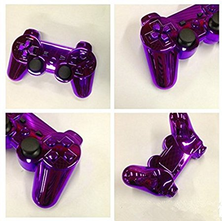 SongChao PlayStation 3 Dualshock 3,PS3 plating handle, wireless six axis double shock, Bluetooth game handle. (Purple plating)