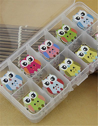 Blanche Lynn 2 Hole Bakelite Buttons Owl Shape Colorful Cartoon Buttons Bakelite Buttons DIY Accessories (25 Pcs in One Pack), Organza Bag As a Gift