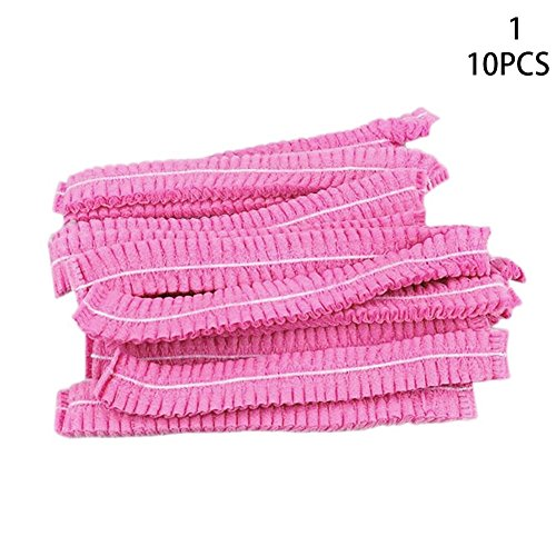 - BleuMoo 10Pcs Disposable Cap Non-Woven Head Cover Hat Hair Net Anti Dust Stretch Elastic (pink)