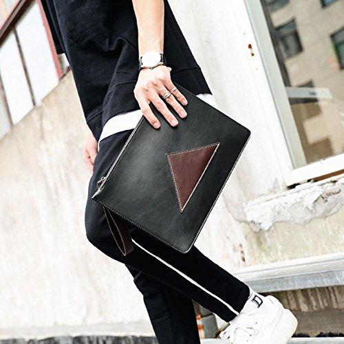 Nabao Stitching Black Handbag Men Leather Pu Wallet nqqxR78wTf
