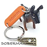 DOBERMAN 3D Animal Style So Cute Handcraft Leather Keychain Keyring Made in THAILAND