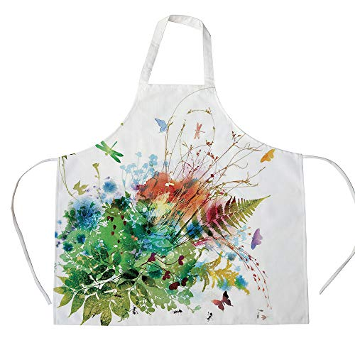 Watercolor 3D Printed Cotton Linen Apron,Floral Jungle Foliage Summer Design Butterfly Dragonfly Herbs Fresh Leafage,for Cooking Baking Gardening,Multicolor