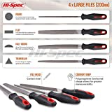 Hi-Spec 16 piece Carbon-Steel File Set with 200mm Flat, Half-round, Round, Triangle Files & 8 x Needle Files for Woodwork, Metal, Model & Hobby Applications