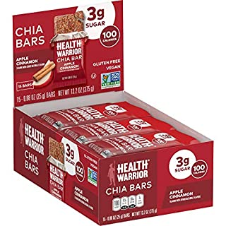HEALTH WARRIOR Chia Bars, Apple Cinnamon, Gluten Free, Vegan, 25g bars, 15 Count