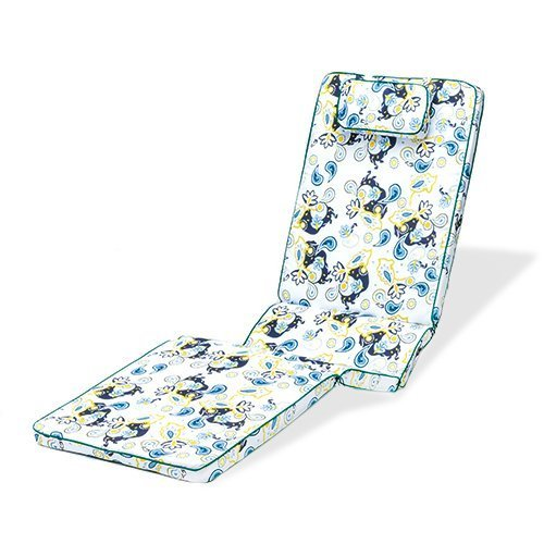 Gardenista Gold Collection Paisley Floral Piped Garden 4-Part Adjustable Sunlounger Cushion Pad Outdoor